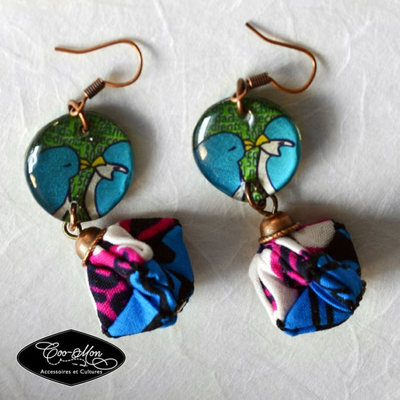 Blue origami long earrings in wax, ankara, women earrings, women jewelry, recycled materials, coo-mon, E coo-pds 002