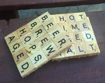 Set of 4 Custom Scrabble Coasters