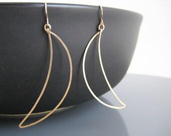 Gold Moon Earrings - long geometric earrings, nickel free work wear jewelry, coworker gift