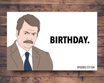 Printable Birthday Card - Ron Swanson Birthday. - Funny Birthday Cards - Celebration - Parks and Recreation - Instant Download File