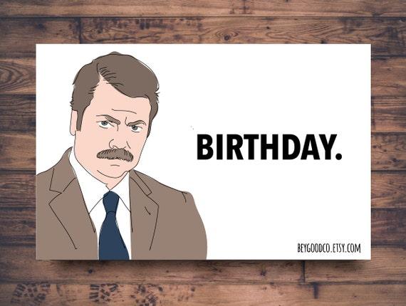 Printable Birthday Card Ron Swanson Birthday Funny