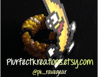 PB&J Banana Perler on FishTail Kandi Cuff