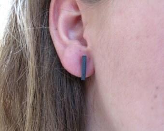 Minimalist Earrings, Posts Earrings, Bar Earrings, Silver Post Earrings, Black Earrings, Tiny Studs, Everyday Earrings, Bar Studs Earrings