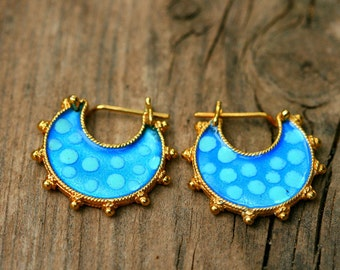 Gold Turquoise Earrings, Boho Hoop Earrings, Ethnic Jewelry, Gold Tribal Earrings, Gold Enamel Earrings, Enamel Earrings, Gold Hoop Earrings