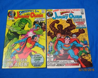 Jimmy OLsen #136 Mar 1971 and #137 Apr 1971,  Both Graded 8.0(VF). #136 Cover by Neal Adams,#137 Cover by Kirby. All Inside Art is Kirby!
