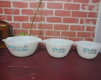 Summer Sale Vintage Fire King Blue Heaven Mixing Bowls set of three (3)