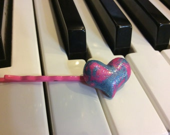 Pink and blue sparkly polymer clay heart bobby pin