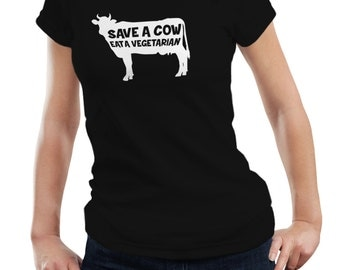 Save A Cow Eat A Vegetarian Ladies Woman Meat Steak Lover T shirt Tshirt Tee Gift Funny