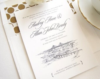 Charleston Skyline Wedding Invitation, Charleston Wedding, Invite, Invitations (Sold in Sets of 10 Invitations, RSVP Cards + Envelopes)