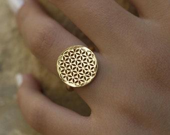Flower of life ring, Sacred geometry ring, Gold ring, Tribal ring, Sacred geometry Jewelry, Ethnic ring, 14K gold ring, Hand made ring
