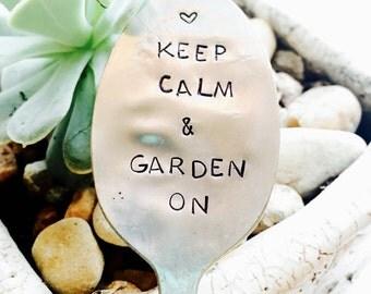 Stamped Silver, Stamped Spoon, Garden Marker, Keep Calm and Garden On, Gardener Gift, Garden Spoon, Christmas Spoon, Stocking Stuffer, Spoon