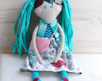 Rag Doll,Handmade Stuffed Doll, Gift for Girls,Girl Shower Gift,Cloth Doll with Bag,Soft Doll, Doll in Knitted Vest, Retro  Doll for Girl
