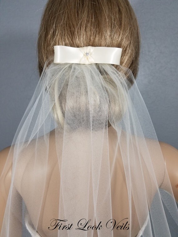 Ivory Bow Veil, Bridal Waist Veil, Wedding Bow Veil, Wedding Vail, Bridal Attire, Bridal Accessory, Bridal Accessories, Bride, Gift, Women