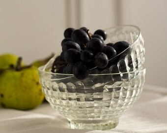 French Faceted Glass Breakfast Bowls - Set of 2