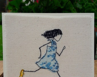 Lets play tag - Hand embroidered greetings card
