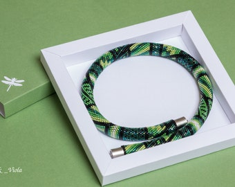 "Seed bead necklace ""green patchwork"""