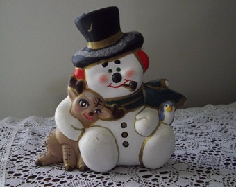 Snowman Figurine, Holiday Decoration, Vintage 1980's