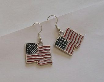 American Flag Earrings, USA Flag Dangle Earrings, Flag Hook Earrings, Patriotic Earrings, Memorial Day Jewelry, Independence Day Jewelry