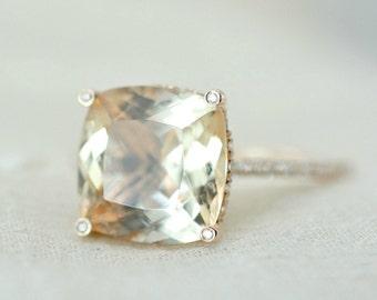 4.35 Ct. Cushion Cut Morganite & Diamond Engagement Ring 14K Rose Gold