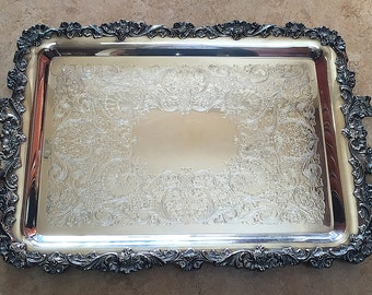 Webster Wilcox International Silver Plate Butler's Waiter's Tray Platter Silverplate