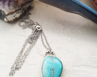 American Mined Turquoise - Sterling Silver Necklace