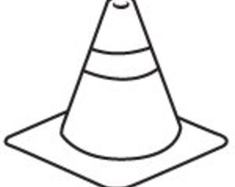 Construction Cone Peg Rubber Stamp