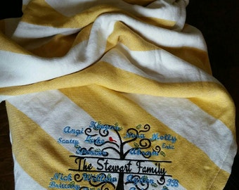 Embroidered Family Tree Throw Blanket