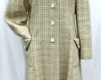 Vintage Belson Wool Tweed Beige and White Long Overcoat / Dress Coat - Medium or Large, Plaid, Winter Coat