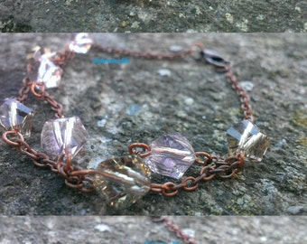 Chain bracelet with copper and faceted crystals