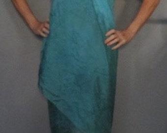 Beach coverup, hand dyed silk, batik, festival skirt, silk pareo, gifts for her
