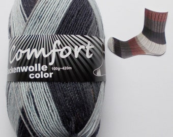 sock yarn 100g (6,-Euro/100g), gray + brown, 4ply (1016.02)