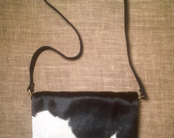 SOLD Cowhide Messenger (black and white)