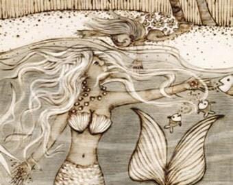 Mermaid, Hawaiian print, sea life, beach, Art Print, Ready to Hang, Canvas, 10x20 or 16x32