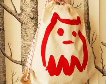 Lille FYR backpack made of canvas with Monster for children