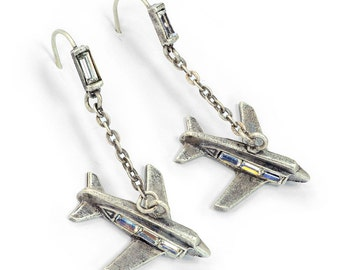 Wanderlust Airplane Earrings, Travel Jewelry, Flight Attendant, Air Force Gifts, Traveling Jewelry, Plane Jewelry, Aviation Jewelry E215
