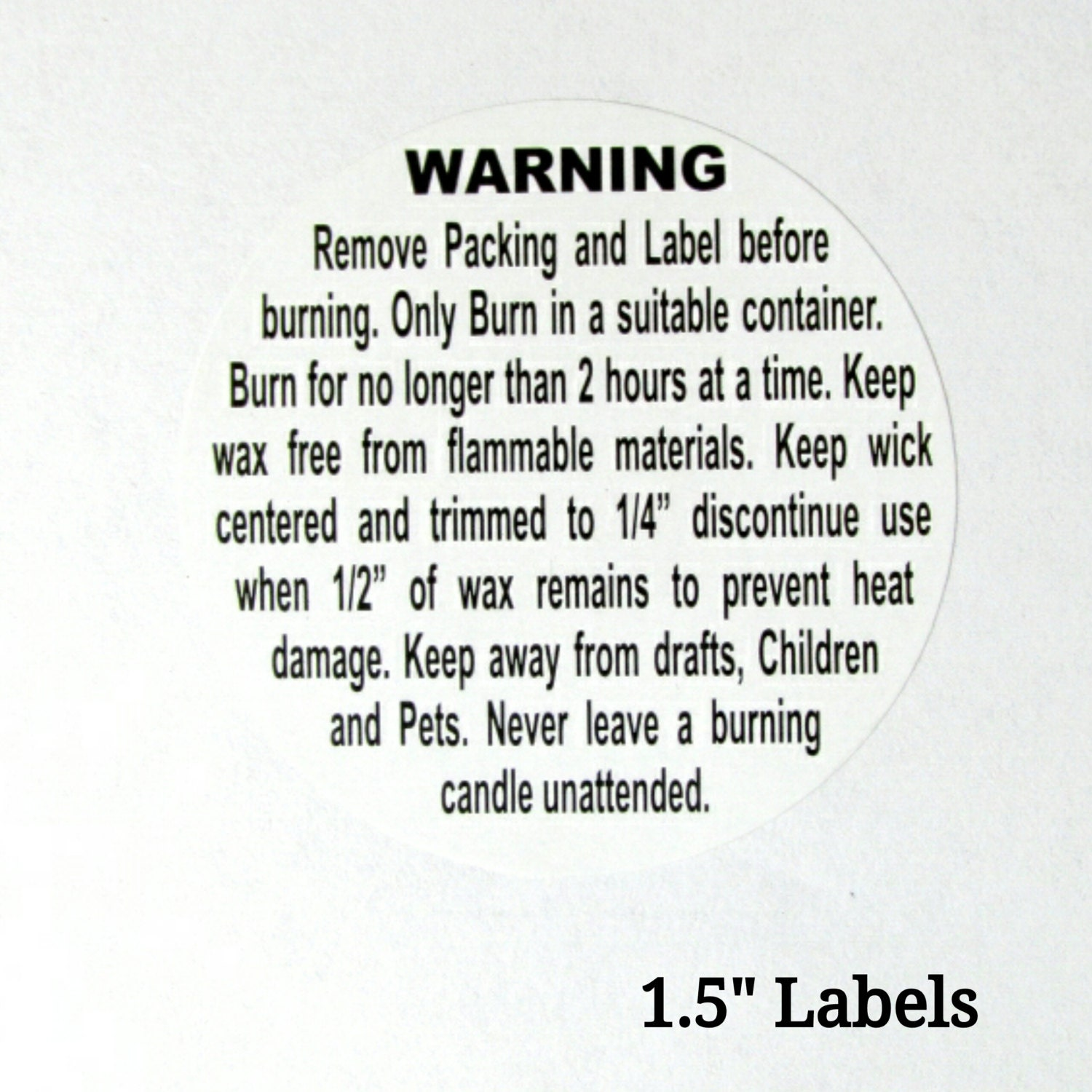 1.5'' Candle Warning Label Stickers Quantity: 30