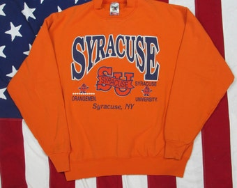 Vintage 1990's Syracuse University Orangemen Crewneck Sweatshirt Large/XL Fruit of the Loom 50/50 Heavyweight NCAA Baskteball Big East