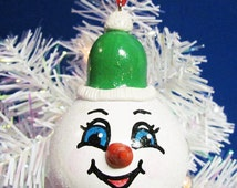 Christmas Snowman Ornament, Gourd Ornament, Holiday Ornament, Holiday Decor