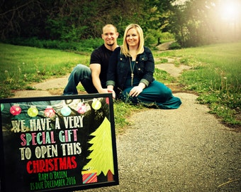 Christmas pregnancy announcement  - Christmas baby - december due date - new baby - photo prop - reveal