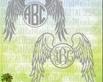 Memorial Decal svg~ Angel Wings ~ Wings SVG ~ Car Decal ~ Memorial T-Shirt ~ Memorial SVG ~ Monogram SVG Cut File, Clipart eps dxf jpeg png