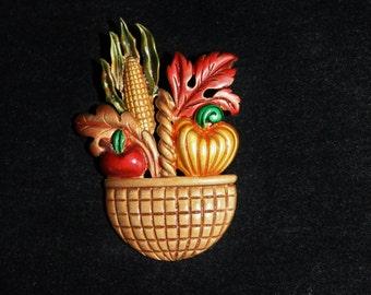 Basket Brooch by Tara Fall Harvest Enamel Brooch Vegetables