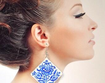 blue wedding earrings wood|with|hand painted handmade wooden Romantic White blue bridal earrings Dangling Earrings folk Gift idea|for|her