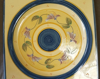 Yellow and Blue Square Plate