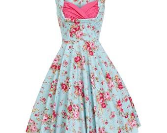 Summer Dress Floral Dress Aqua Bridesmaid Dress Vintage Style Dress Holiday Dress Pin Up Dress 50s Party Prom Dress Wedding Plus Size Dress