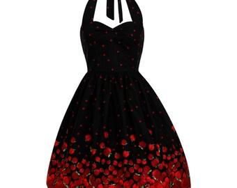 Black Apple Dress Sweet Lolita Dress Border Skirt Dress Gothic Dress Kawaii Pin Up Dress Rockabilly Dress 50s Party Vintage Style Dress