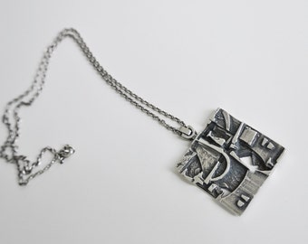 Jorma Laine Silver Pendant and Chain Turun Hopea Finland 1970s
