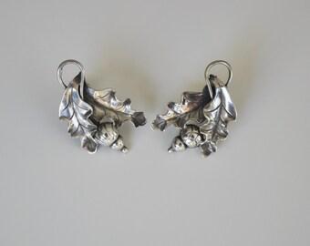 Vintage Georg Jensen La Paglia USA Sterling Silver Oak Leaves with Acorn Earrings 1950s