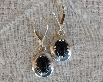 Onyx Earrings, Onyx & Sterling Silver Earrings, Onyx and Silver Earrings, Black and Silver Shield Earrings, Black Earrings, Onyx