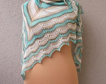 light bamboo shawl, summer shawl, striped shawl, beige turquoise shawl