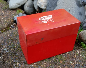Red Metal Recipe Box